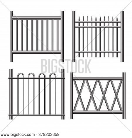 Realistic Detailed 3d Shiny Metal Railings Fence Set Symbol Of Barrier. Vector Illustration Of Outdo