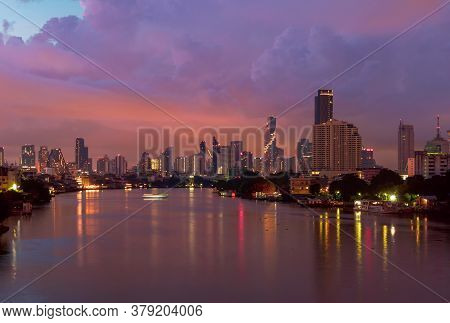 Taksin Bridge With Chao Phraya River, Bangkok Downtown. Thailand. Financial District And Business Ce