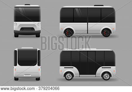 Driverless Electric Future Transport. Autonomous Vehicle Self Driving Machine. Vector Illustration E