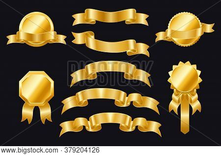 Gold Ribbons Of Different Shapes On A Black Background. Golden Badges. Wrapping Gold Banner Ribbons,