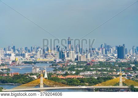 Aerial View Of Maha Chesadabodindranusorn Bridge Or Nonthaburi Bridge Crossing Chao Phraya River And