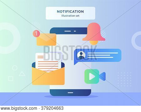 Notification Illustration Set Smartphone With Notification Message Email Bell Chat Video Call Flat S