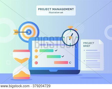 Roject Management Illustration Set Program Checklist On Display Monitor Laptop Nearby Hourglass Stop
