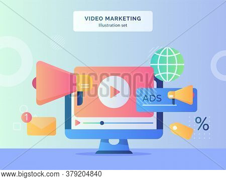 Video Marketing Illustration Set Video Playing Icon On Display Monitor Computer Background Of Megaph