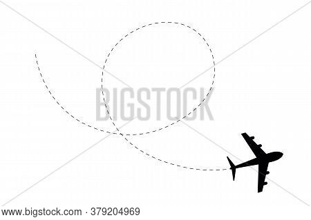 Airplane Route Path Icon. Flight Tourism Route Path, Plane Flights Itinerary Starting Pin To Destina