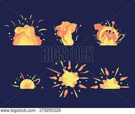 Energy Detonating Explosives With Subsequent Phases Red Explosion Flash Diverging. Cartoon Explosion