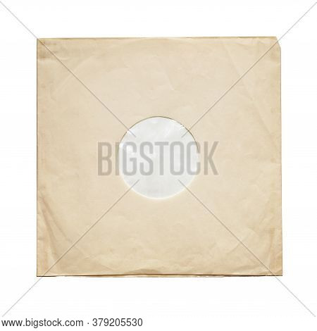 Aged Yellow Paper Inner Sleeve For Vinyl Lp Records Isolated On White Background