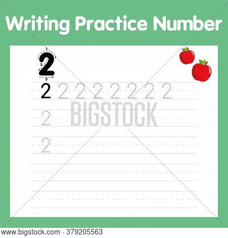Writing Practice Number Two Printable Worksheet For Preschool. Pictured Two Apples. Number 2