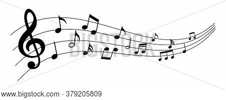 Set Of Musical Notes. Black Musical Note Icons. Music Elements. Treble Clef. Vector Illustration.