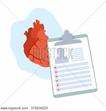 Human Heart. Disease. Diagnosis, Patiant Card. Medical Flat Anatomy Illustration.