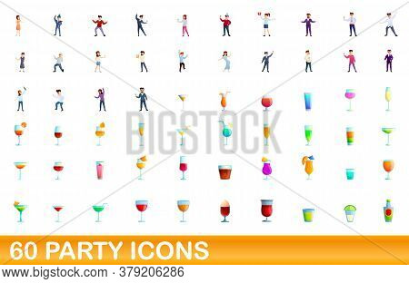 60 Party Icons Set. Cartoon Illustration Of 60 Party Icons Vector Set Isolated On White Background