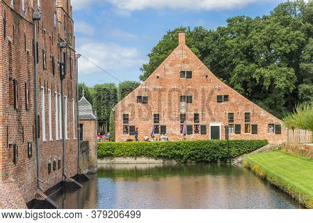 Uithuizen, Netherlands - July 29, 2020: Castle And Restaurant At The Menkemaborg In Uithuizen, Nethe