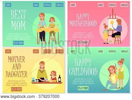 Set Of Site Homepages For Mothers And Children Day Flat Vector Illustration.