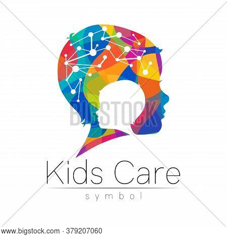 Child Rainbow Logotype In Vector. Silhouette Profile Human Head With Brain. Concept Logo For People,