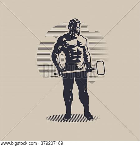 God Hephaestus Or Vulcan. A Muscular Man Holds A Large Hammer In His Hand.