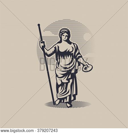 Goddess Hera Or Juno. A Woman In A Tunic With A Staff In One Hand And A Plate In The Other.