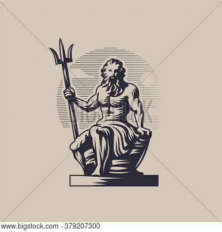 God Poseidon Or Neptune. A Man With A Beard Sits And Holds A Trident In His Hand.