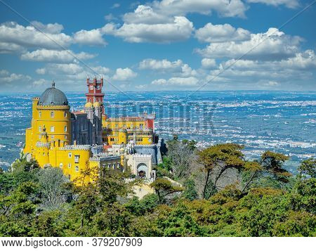 Fairy Palace Against Sunset Sky. Panorama Of Pena National Palace In Sintra, Portugal. Europe