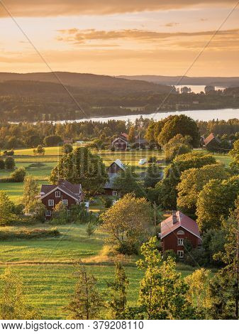 Rural Sunset View At The Swedish Coutry Side During Golden Hour