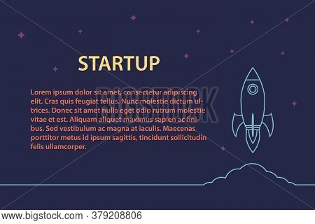 Rocket Launch Into Space. Business Project Start Up Development And Launch New Innovation Product On