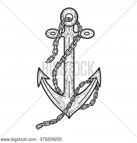 Anchor With Chain Sketch Engraving Vector Illustration. T-shirt Apparel Print Design. Scratch Board
