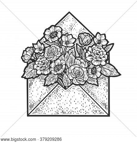 Flowers In Letter Envelope Sketch Engraving Vector Illustration. T-shirt Apparel Print Design. Scrat