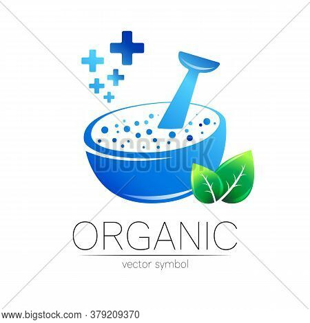 Organic Vector Symbol In Blue And Green Color. Concept Logo For Business. Herbal Sign With Leaf And