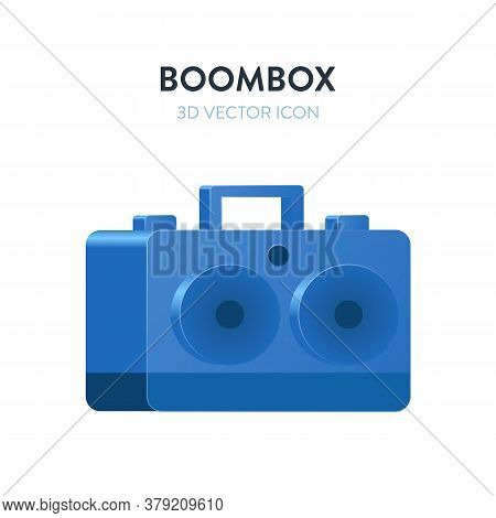 Boombox 3d Isometric Vector Icon. 3d Vector Illustration With Gradient Blue Color Of A Retro Sound P