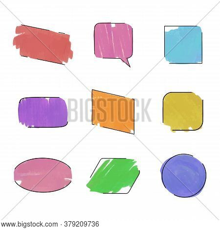 Vector Collection Of Colorful Frames Isolated On White Background, Diffect Colors, Blank Frames, Bru