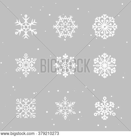 Snowflakes Set. Many White Cold Flake Elements On Transparent Background. White Snowflakes Flying In
