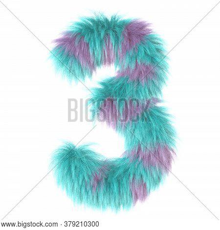 3d Decorative Cartoon Fun Animal Fur Number 3