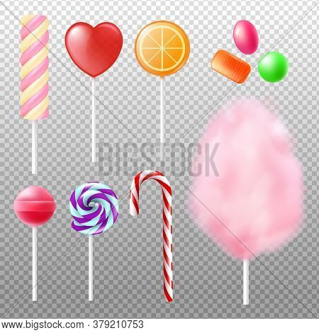 Realistic Candy On Stick Set - Colorful Marmalade, Dessert Candy Floss And Cane