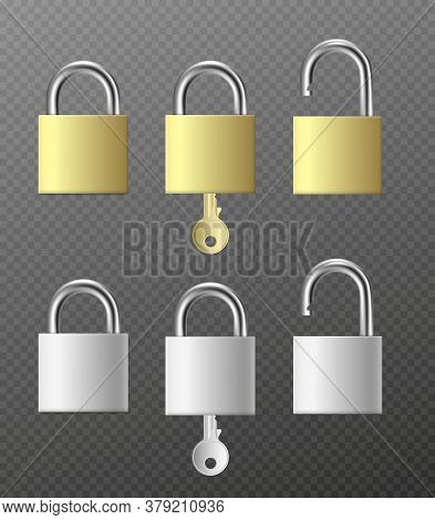 Set Padlocks In Silver And Golden Colors Realistic Vector Illustration Isolated.