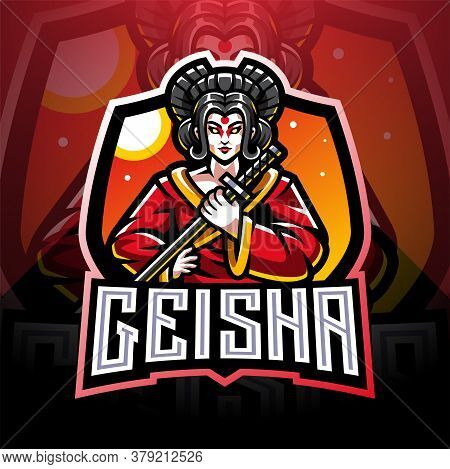 Geisha Esport Mascot Logo Design With Text