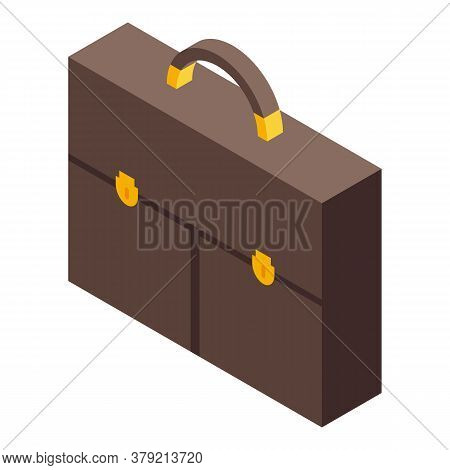 Auditor Leather Bag Icon. Isometric Of Auditor Leather Bag Vector Icon For Web Design Isolated On Wh