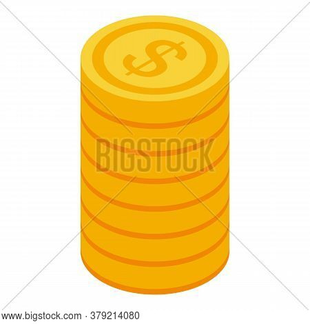 Auditor Coin Stack Icon. Isometric Of Auditor Coin Stack Vector Icon For Web Design Isolated On Whit