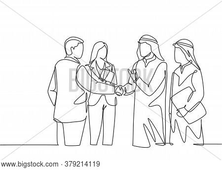 One Continuous Line Drawing Of Young Muslim Business Man Handshake With His Colleague. Saudi Arabian