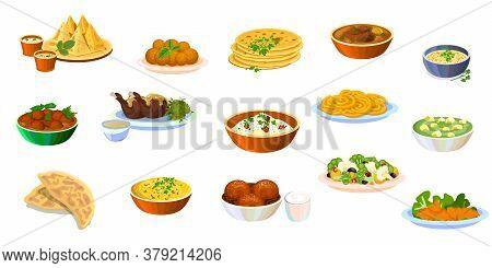 Indian Traditional Food Set. Curry Chicken, Soup Dal, Malai Kofta, Tandoori, Korma, Jalebi, Palak Pa