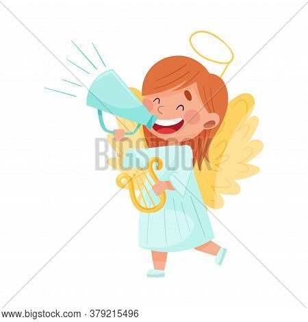 Little Girl Character Dressed In Fancy Angel Costume Talking Megaphone Or Loudspeaker Vector Illustr