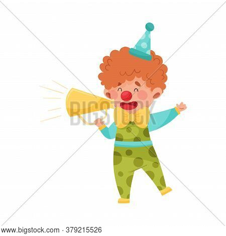 Little Boy Character Dressed In Fancy Clown Costume Talking Megaphone Or Loudspeaker Vector Illustra