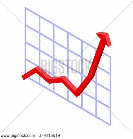 Graph Chart Breakthrough Icon. Isometric Of Graph Chart Breakthrough Vector Icon For Web Design Isol