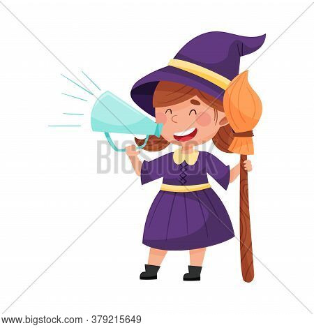 Little Girl Character Dressed In Fancy Witch Costume Talking Megaphone Or Loudspeaker Vector Illustr
