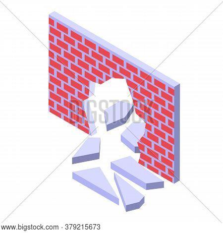Brick Wall Breakthrough Icon. Isometric Of Brick Wall Breakthrough Vector Icon For Web Design Isolat