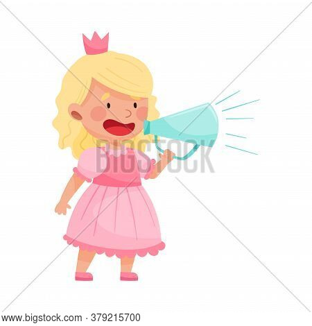 Little Girl Character Dressed In Fancy Princess Costume Talking Megaphone Or Loudspeaker Vector Illu