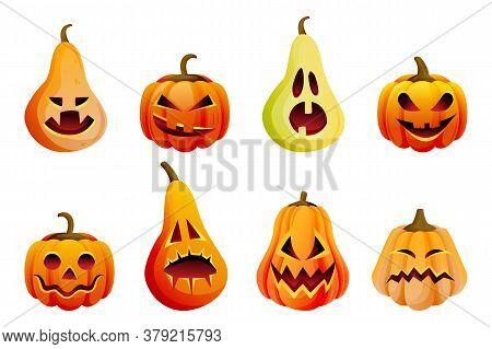 Halloween Scary Emotion Pumpkins Icons Set. Vector Flat Cartoon Illustration. Horror Jack O Lanterns