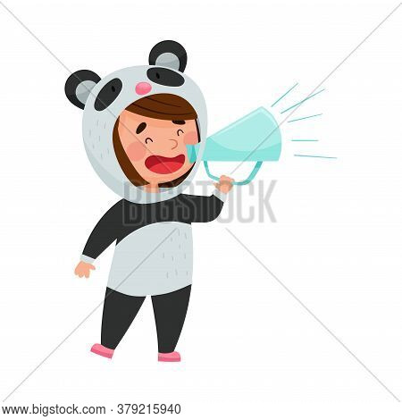 Cute Girl Character Dressed In Fancy Panda Costume Talking Megaphone Or Loudspeaker Vector Illustrat