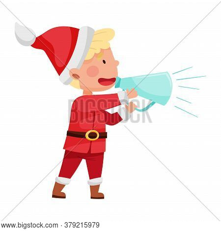 Funny Boy Character Dressed In Santa Claus Costume Talking Megaphone Or Loudspeaker Vector Illustrat