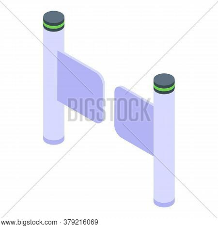 Turnstile Entrance Icon. Isometric Of Turnstile Entrance Vector Icon For Web Design Isolated On Whit