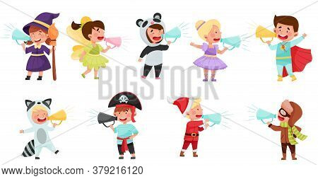 Kid Characters Wearing Fancy Dress Or Costume Talking Megaphone Or Loudspeaker Vector Illustration S