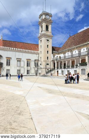 Coimbra, Portugal - May 26, 2018: People Visit Coimbra University In Portugal. The University Is A U